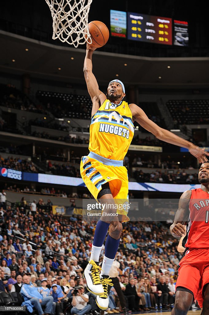 Corey Brewer #13 of the Denver Nuggets goes up for the dunk against the Toronto Raptors on December 3, 2012 at the Pepsi Center in Denver, Colorado.