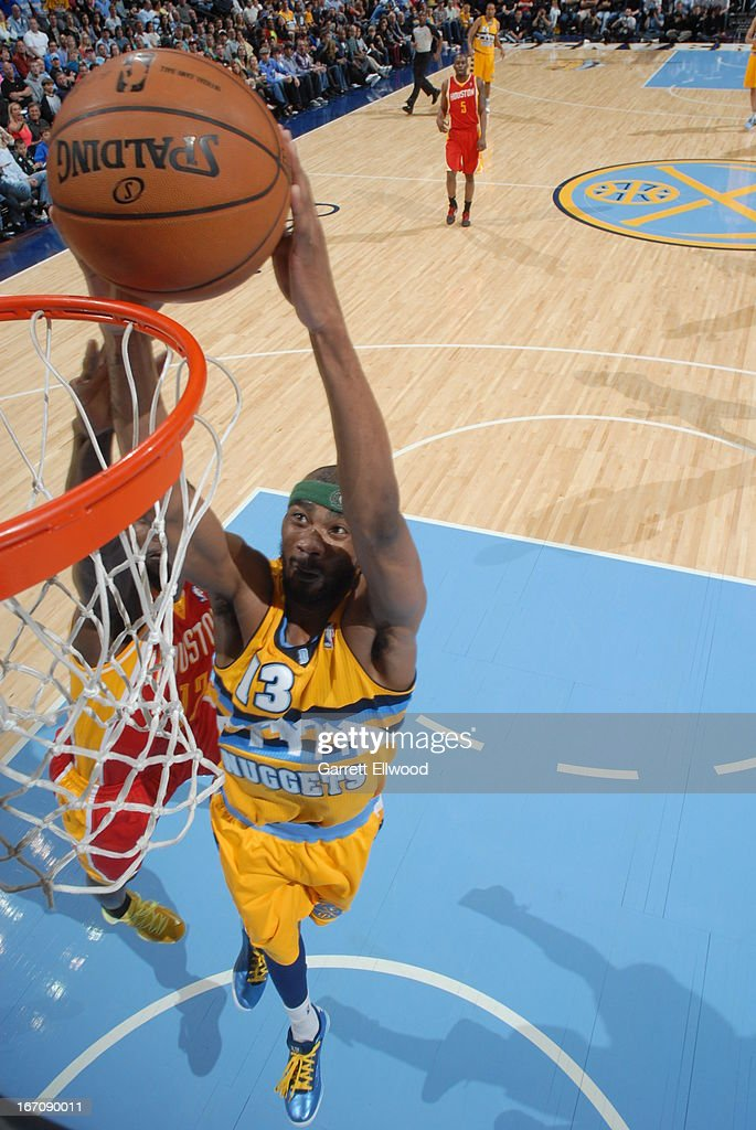 <a gi-track='captionPersonalityLinkClicked' href=/galleries/search?phrase=Corey+Brewer&family=editorial&specificpeople=234749 ng-click='$event.stopPropagation()'>Corey Brewer</a> #13 of the Denver Nuggets goes up for the dunk against the Houston Rockets on April 6, 2013 at the Pepsi Center in Denver, Colorado.