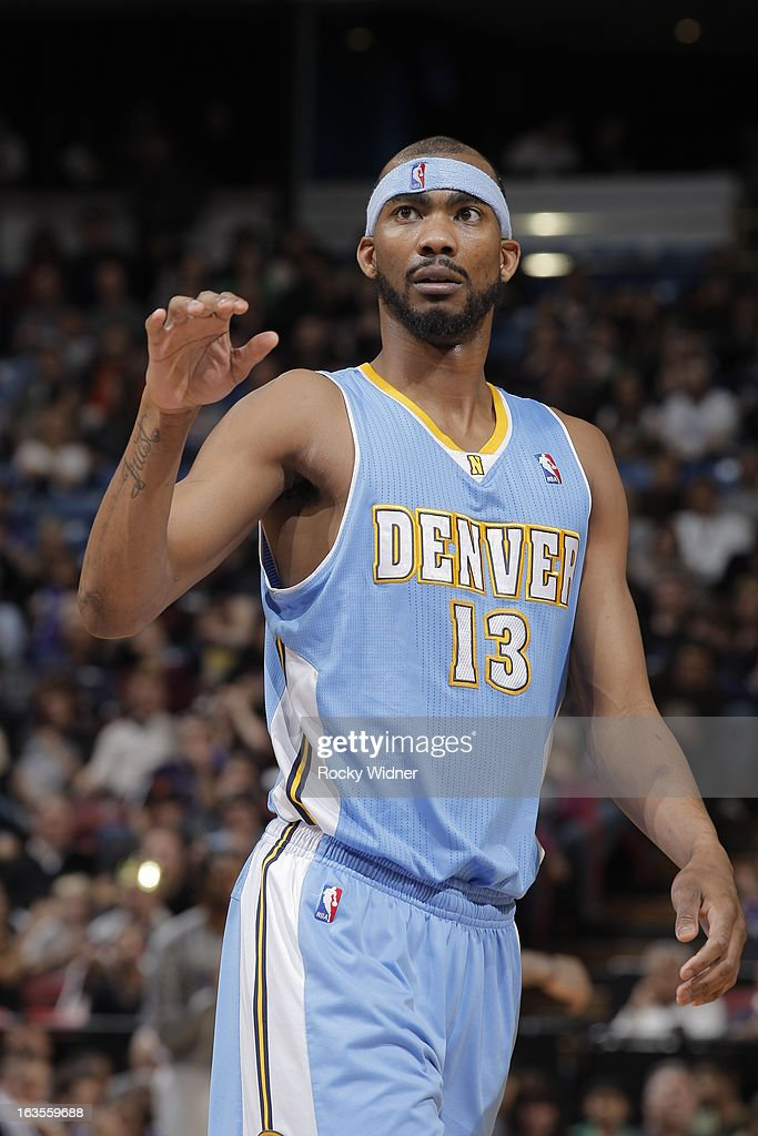 Corey Brewer #13 of the Denver Nuggets in a game against the Sacramento Kings on March 5, 2013 at Sleep Train Arena in Sacramento, California.