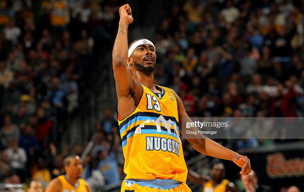 Corey Brewer #13 of the Denver Nuggets reacts after making a three point shot against the Oklahoma City Thunder at the Pepsi Center on January 20, 2013 in Denver, Colorado. The Nuggets defeated the Thunder 121-118 in overtime.