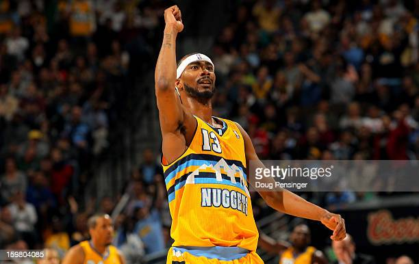 Corey Brewer of the Denver Nuggets reacts after making a three point shot against the Oklahoma City Thunder at the Pepsi Center on January 20 2013 in...