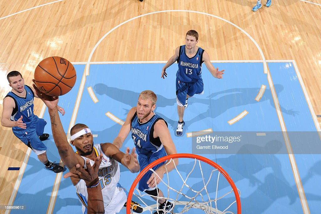 <a gi-track='captionPersonalityLinkClicked' href=/galleries/search?phrase=Corey+Brewer&family=editorial&specificpeople=234749 ng-click='$event.stopPropagation()'>Corey Brewer</a> #13 of the Denver Nuggets shoots against the Minnesota Timberwolves on January 3, 2013 at the Pepsi Center in Denver, Colorado.