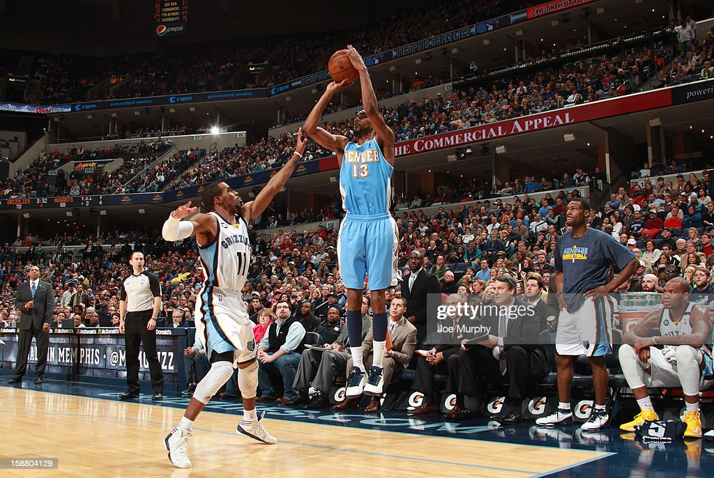 <a gi-track='captionPersonalityLinkClicked' href=/galleries/search?phrase=Corey+Brewer&family=editorial&specificpeople=234749 ng-click='$event.stopPropagation()'>Corey Brewer</a> #13 of the Denver Nuggets shoots over Mike Conley #11 of the Memphis Grizzlies on December 29, 2012 at FedExForum in Memphis, Tennessee.