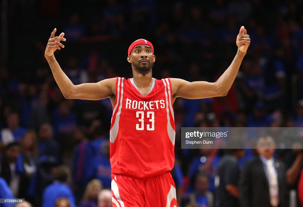 Corey Brewer of the Houston Rockets celebrates a Rockets basket in the fourth quarter against the Los Angeles Clippers during Game Six of the Western...