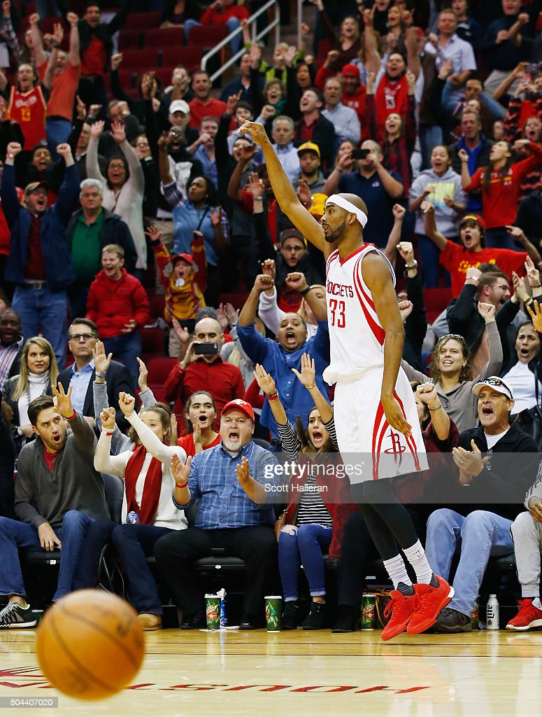 Corey Brewer of the Houston Rockets celebrates a threepoint shot against the Indiana Pacers in overtime during their game at the Toyota Center on...
