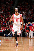 Corey Brewer of the Houston Rockets celebrates during a game against the Dallas Mavericks in Game One of the Western Conference Quarterfinals during...