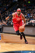Corey Brewer of the Houston Rockets drives to the basket during the game against the Minnesota Timberwolves on April 11 2016 at Target Center in...