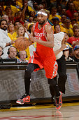 Corey Brewer of the Houston Rockets handles the ball against the Golden State Warriors in Game Five of the Western Conference Finals of the 2015 NBA...