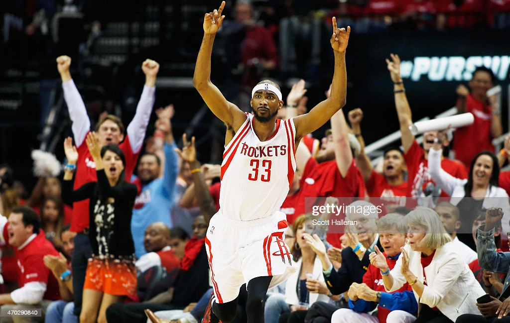 <a gi-track='captionPersonalityLinkClicked' href=/galleries/search?phrase=Corey+Brewer&family=editorial&specificpeople=234749 ng-click='$event.stopPropagation()'>Corey Brewer</a> #33 of the Houston Rockets reacts to a three-point shot against the Dallas Mavericks during Game One in the Western Conference Quarterfinals of the 2015 NBA Playoffs on April 18, 2015 at the Toyota Center in Houston, Texas.