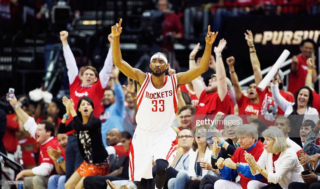 Corey Brewer #33 of the Houston Rockets reacts to a three-point shot against the Dallas Mavericks during Game One in the Western Conference Quarterfinals of the 2015 NBA Playoffs on April 18, 2015 at the Toyota Center in Houston, Texas.