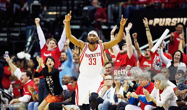 Corey Brewer of the Houston Rockets reacts to a threepoint shot against the Dallas Mavericks during Game One in the Western Conference Quarterfinals...
