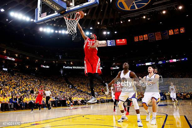 Corey Brewer of the Houston Rockets shoots against the Golden State Warriors in the second quarter during Game One of the Western Conference Finals...