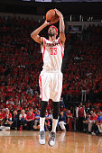 Corey Brewer of the Houston Rockets takes a shot against the Los Angeles Clippers in Game Seven of the Western Conference Semifinals during the 2015...