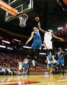 Corey Brewer of the Houston Rockets takes a shot over Zach LaVine of the Minnesota Timberwolves during their game at the Toyota Center on January 13...