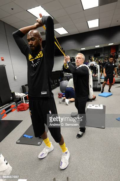 Corey Brewer of the Los Angeles Lakers stretches before the game against the LA Clippers on October 19 2017 at STAPLES Center in Los Angeles...