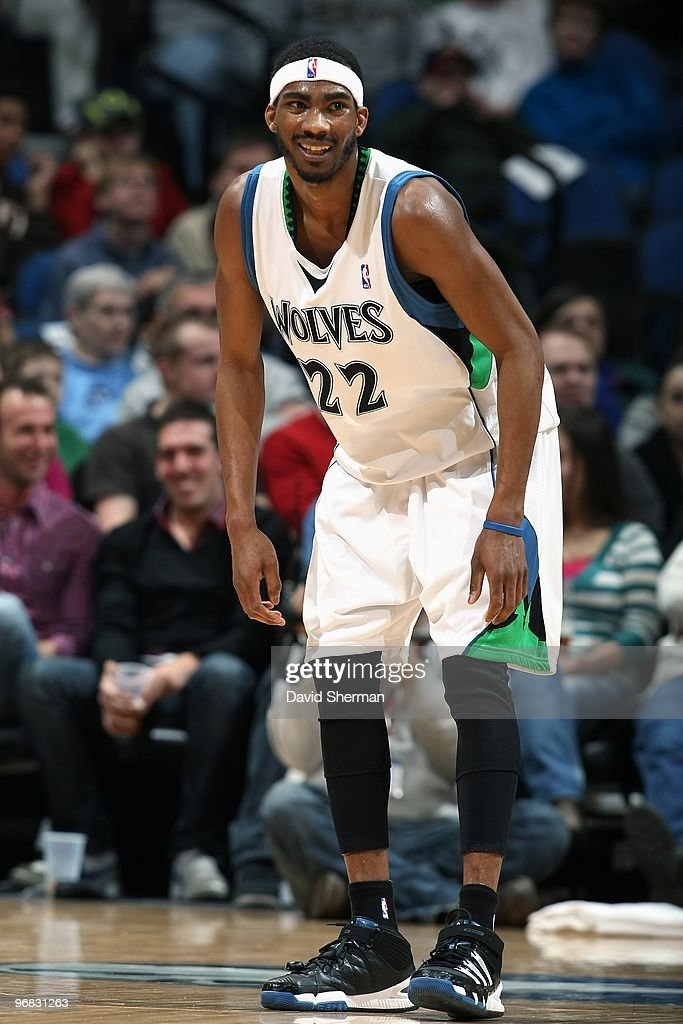 Corey Brewer of the Minnesota Timberwolves cracks a smile during the game against the Los Angeles Clippers on January 29 2010 at the Target Center in...