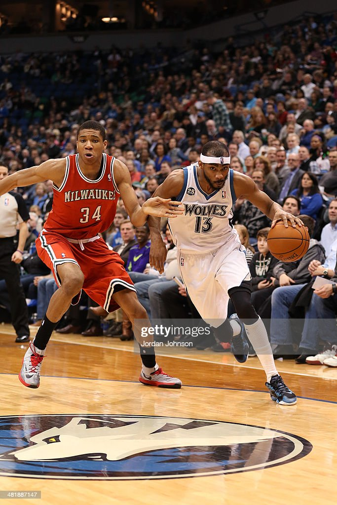 Corey Brewer #13 of the Minnesota Timberwolves drives to the basket during the game against the Milwaukee Bucks on March 11, 2014 at Target Center in Minneapolis, Minnesota.