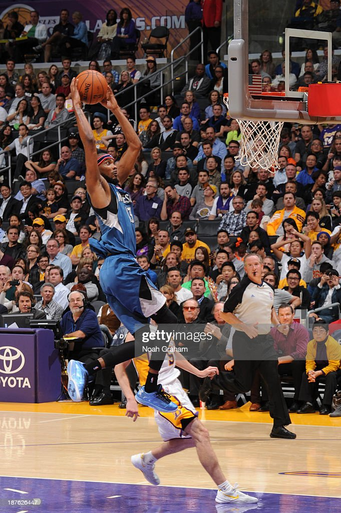 <a gi-track='captionPersonalityLinkClicked' href=/galleries/search?phrase=Corey+Brewer&family=editorial&specificpeople=234749 ng-click='$event.stopPropagation()'>Corey Brewer</a> #13 of the Minnesota Timberwolves goes up for a dunk against the Los Angeles Lakers at Staples Center on November 10, 2013 in Los Angeles, California.