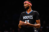 Corey Brewer of the Minnesota Timberwolves looks on during a game against the Brooklyn Nets at the Barclays Center on November 5 2014 in the Brooklyn...