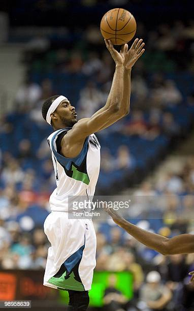 Corey Brewer of the Minnesota Timberwolves shoots a jumper against the Sacramento Kings during the game on March 31 2010 at the Target Center in...