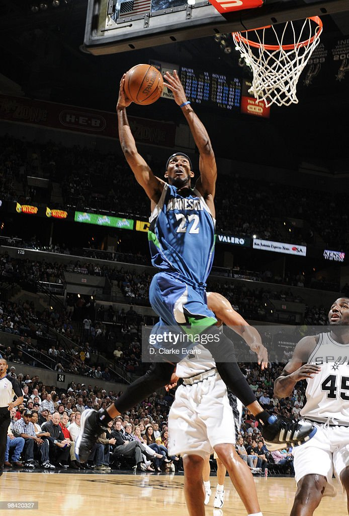 Corey Brewer of the Minnesota Timberwolves shoots against the San Antonio Spurs on April 12 2010 at the ATT Center in San Antonio Texas NOTE TO USER...
