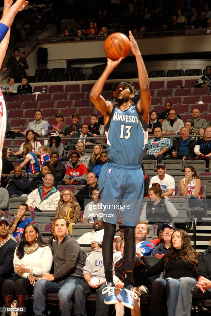 <a gi-track='captionPersonalityLinkClicked' href=/galleries/search?phrase=Corey+Brewer&family=editorial&specificpeople=234749 ng-click='$event.stopPropagation()'>Corey Brewer</a> #13 of the Minnesota Timberwolves shoots the ball against the Detroit Pistons during the game on October 24, 2013 at The Palace of Auburn Hills in Auburn Hills, Michigan.