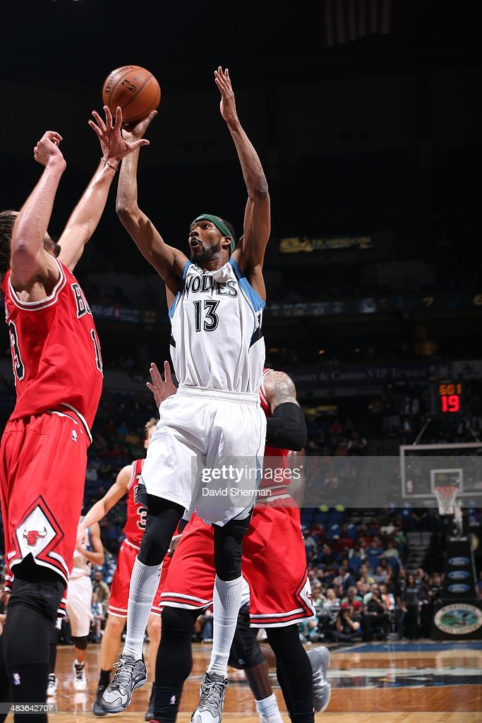 Corey Brewer #13 of the Minnesota Timberwolves shoots the ball against the Chicago Bulls during the game on April 9, 2014 at Target Center in Minneapolis, Minnesota.