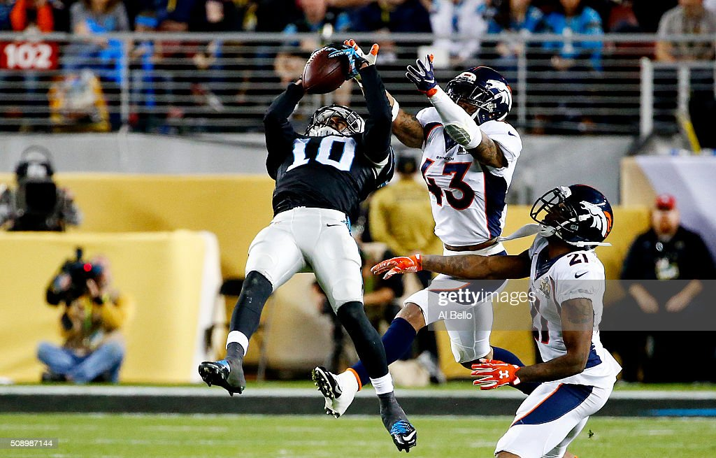Corey Brown of the Carolina Panthers makes 45 yard reception over TJ Ward of the Denver Broncos in the third quarter during Super Bowl 50 at Levi's...