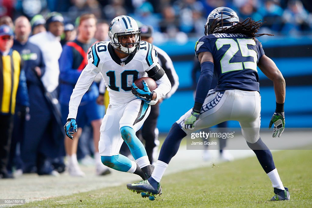 Corey Brown #10 of the Carolina Panthers runs the ball against Richard Sherman #25 of the Seattle Seahawks in the 3rd quarter during the NFC Divisional Playoff Game at Bank of America Stadium on January 17, 2016 in Charlotte, North Carolina.