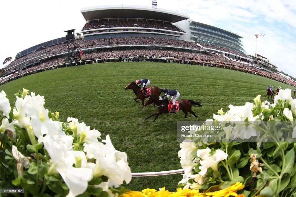 Corey Brown rides #22 Rekindling to win race seven the Emirates Melbourne Cup during Melbourne Cup Day at Flemington Racecourse on November 7, 2017 in Melbourne, Australia.