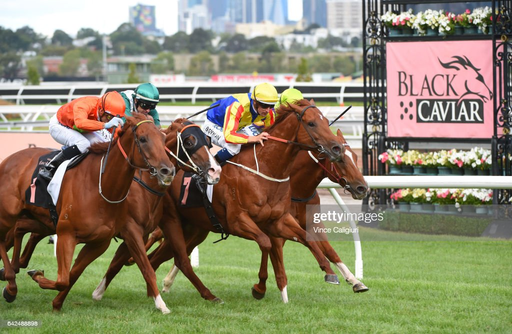 Corey Brown riding Terravista defeats Dwayne Dunn riding Star Turn, Hugh Bowman riding Spieth and Brad Rawiller riding Flamberge in Race 8, the Black Caviar Lightning during Melbourne Racing at Flemington Racecourse on February 18, 2017 in Melbourne, Australia.
