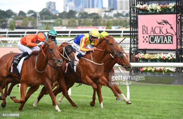 Corey Brown riding Terravista defeats Dwayne Dunn riding Star Turn Hugh Bowman riding Spieth and Brad Rawiller riding Flamberge in Race 8 the Black...
