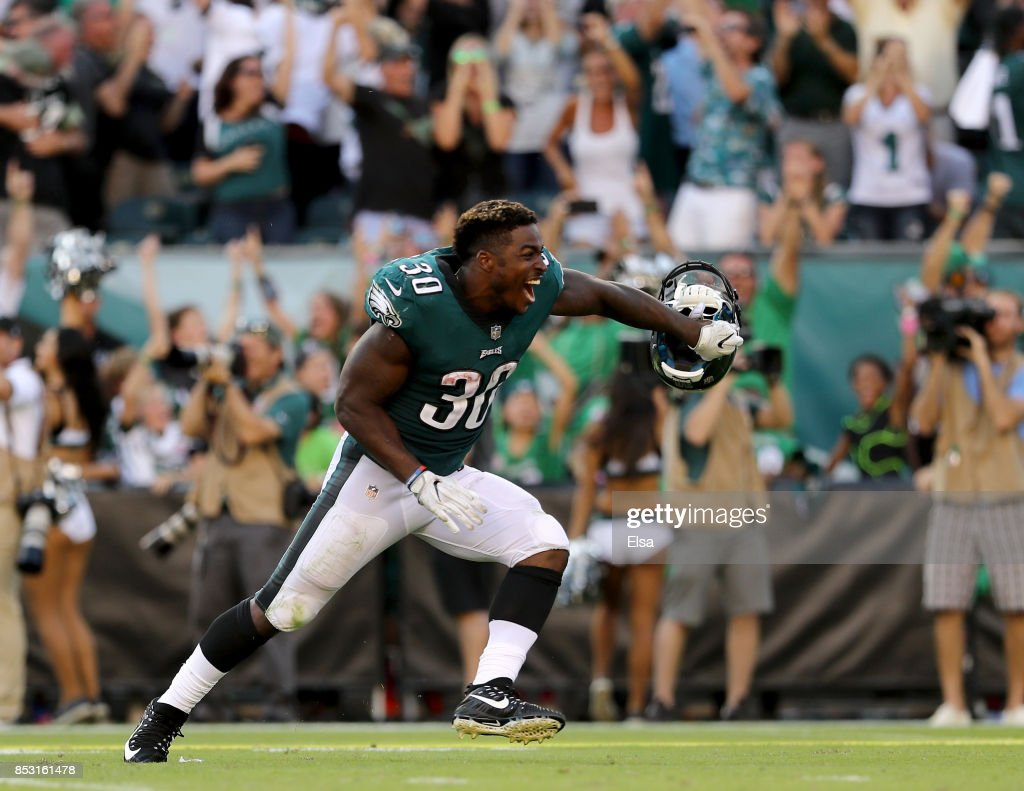 Corey Clement #30 of the Philadelphia Eagles celebrates the win over the New York Giants on September 24, 2017 at Lincoln Financial Field in Philadelphia, Pennsylvania. Jake Elliott of the Philadelphia Eagles kicked a 61-yeard field goal to win the game.