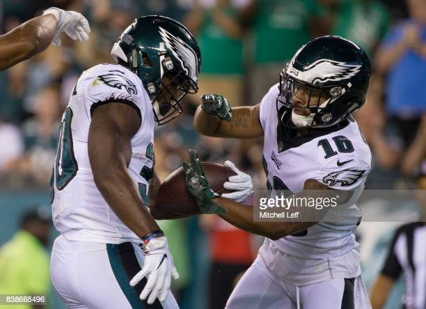 Corey Clement of the Philadelphia Eagles celebrates with Bryce Treggs after scoring a touchdown in the second quarter against the Miami Dolphins in...
