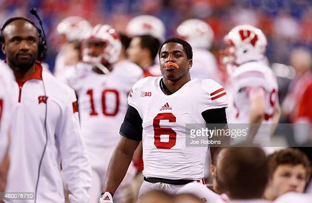 Corey Clement of the Wisconsin Badgers looks on from the sidelines in the fourth quarter of the Big Ten Championship against the Ohio State Buckeyes...
