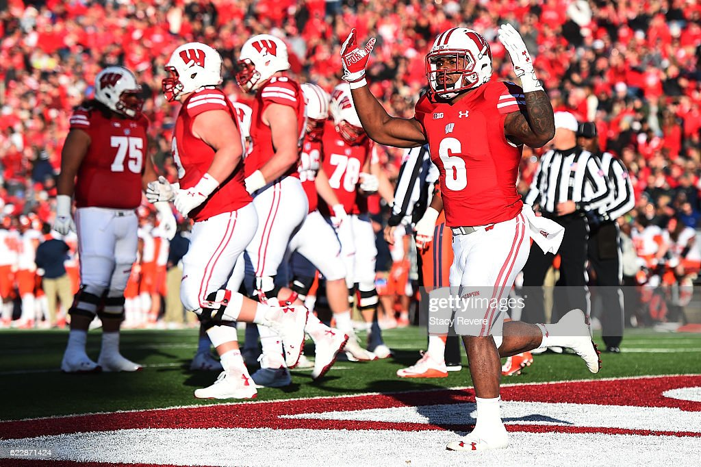 Corey Clement #6 of the Wisconsin Badgers reacts to a touchdown during the first half of a game against the Illinois Fighting Illini at Camp Randall Stadium on November 12, 2016 in Madison, Wisconsin.