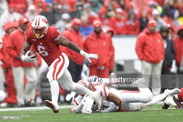 Corey Clement of the Wisconsin Badgers runs with the football during the second half of play against the Rutgers Scarlet Knights at Camp Randall...
