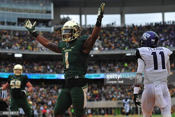 Corey Coleman of the Baylor Bears celebrates after a touchdown against the TCU Horned Frogs on October 11 2014 at McLane Stadium in Waco Texas