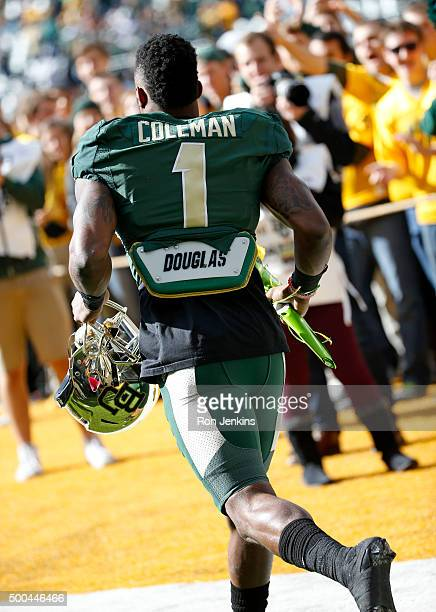 Corey Coleman of the Baylor Bears takes the field before the Bears take on the Texas Longhorns at McLane Stadium on December 5 2015 in Waco Texas