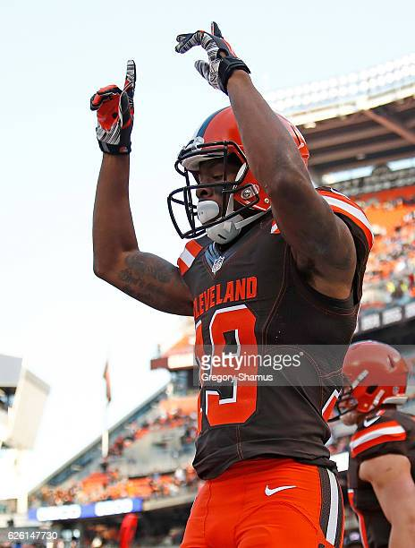 Corey Coleman of the Cleveland Browns celebrates his fourth quarter touchdown against the New York Giants at FirstEnergy Stadium on November 27 2016...