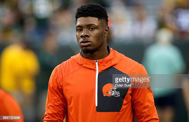 Corey Coleman of the Cleveland Browns during warm ups before the game against the Green Bay Packers at Lambeau Field on August 12 2016 in Green Bay...