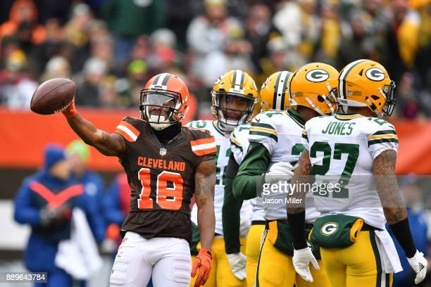 Corey Coleman of the Cleveland Browns reacts to a play against the Green Bay Packers at FirstEnergy Stadium on December 10 2017 in Cleveland Ohio