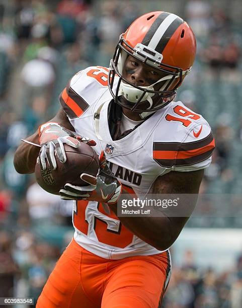 Corey Coleman of the Cleveland Browns warms up prior to the game against the Philadelphia Eagles at Lincoln Financial Field on September 11 2016 in...