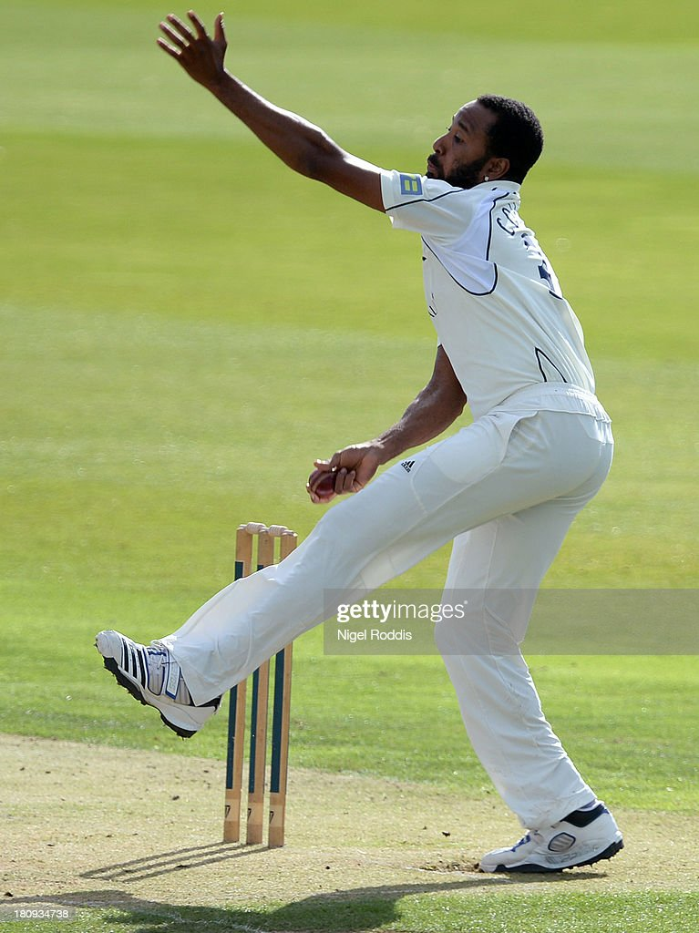 Corey Collymore of Middlesex bowls during day two of the LV County Championship Division One match between Yorkshire and Middlesex at Headingley Stadium on September 18, 2013 in Leeds, England.