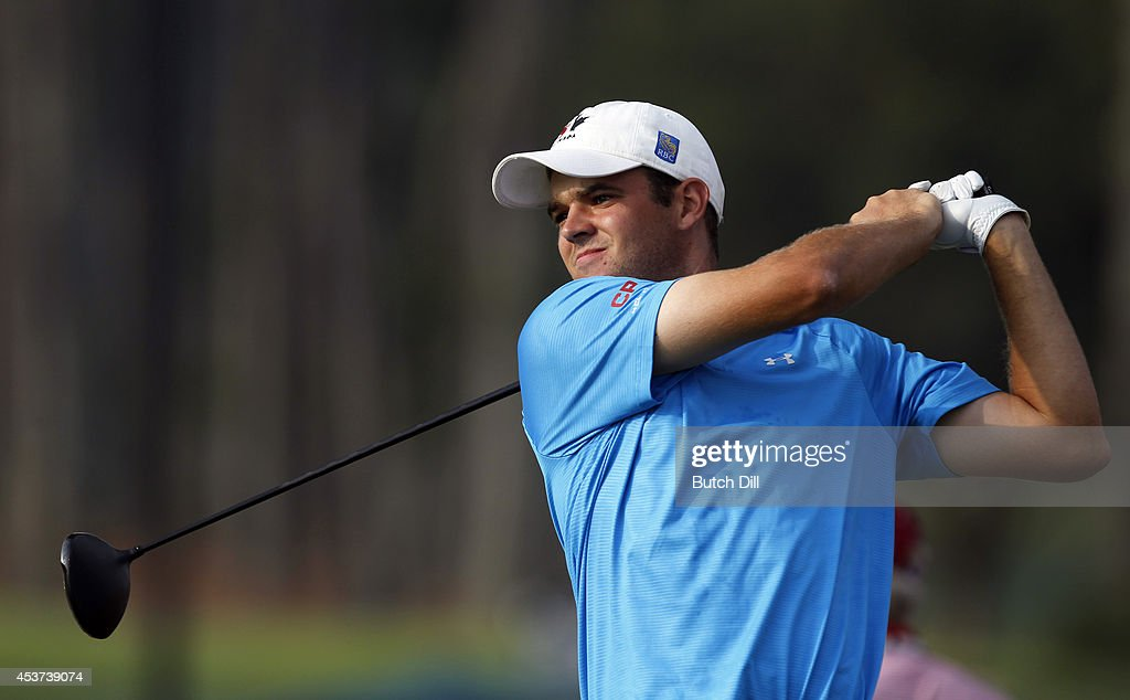 Corey Conners, of Canada, hits his tee shot on the first hole during the final match of the U.S. Amateur Championship on August 17, 2014 at the Atlanta Athletic Club in Johns Creek, Georgia.