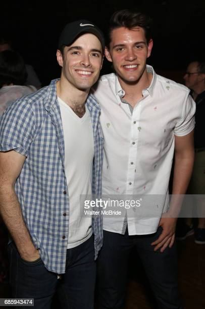 Corey Cott and Casey Cott backstage at Broadway's 'Bandstand' at the Bernard Jacobs Theate on May 19 2017 in New York City