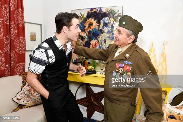Corey Cott and decorated Battle of the Bulge Purple Heart recipient 93 year old Luke Gasparre backstage at 'Bandstand' on Broadway at Bernard Jacobs...