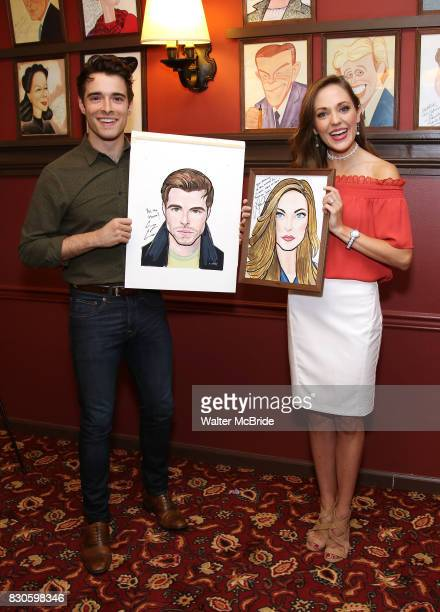 Corey Cott and Laura Osnes during the Corey Cott Sardi's Portrait unveiling at Sardi's Restaurant on August 11 2017 in New York City