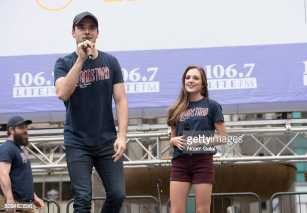 Corey Cott and Laura Osnes of Bandstand perform during 1067 Lite FM's Broadway in Bryant Park 2017 at Bryant Park on August 10 2017 in New York City