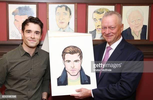 Corey Cott and Max Klimavicius during the Corey Cott Sardi's Portrait unveiling at Sardi's Restaurant on August 11 2017 in New York City